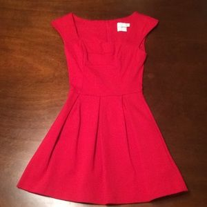 Asos Petite Red Fitted Skater Dress sz 2